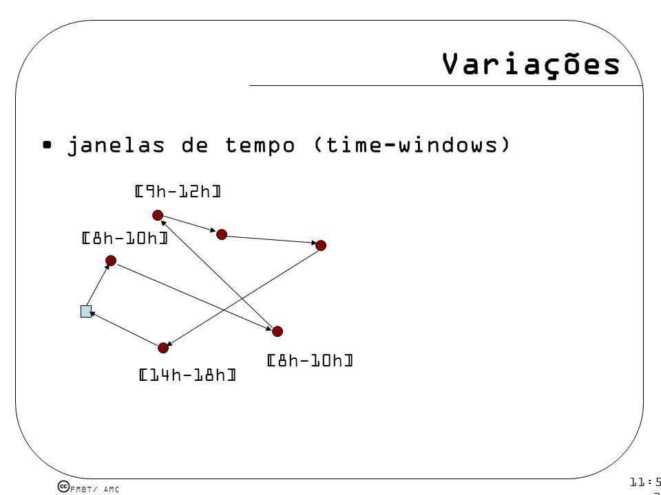 Variações janelas de tempo (time-windows) [9h-12h] [8h-10h] [8h-10h]